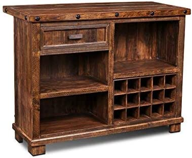 Crafters Weavers Westgate Solid Wood Rustic Bar with Wine Cabinet and Iron Foot Rest