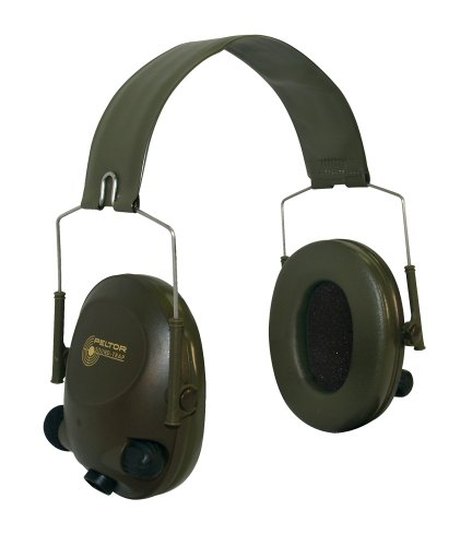 3M Peltor Tactical 6-S Slim Line Electronic Headset with Audio Input Jack, Olive Green, Hearing Protection, Ear Protection, NRR 20 dB, Great for hunters and shooters
