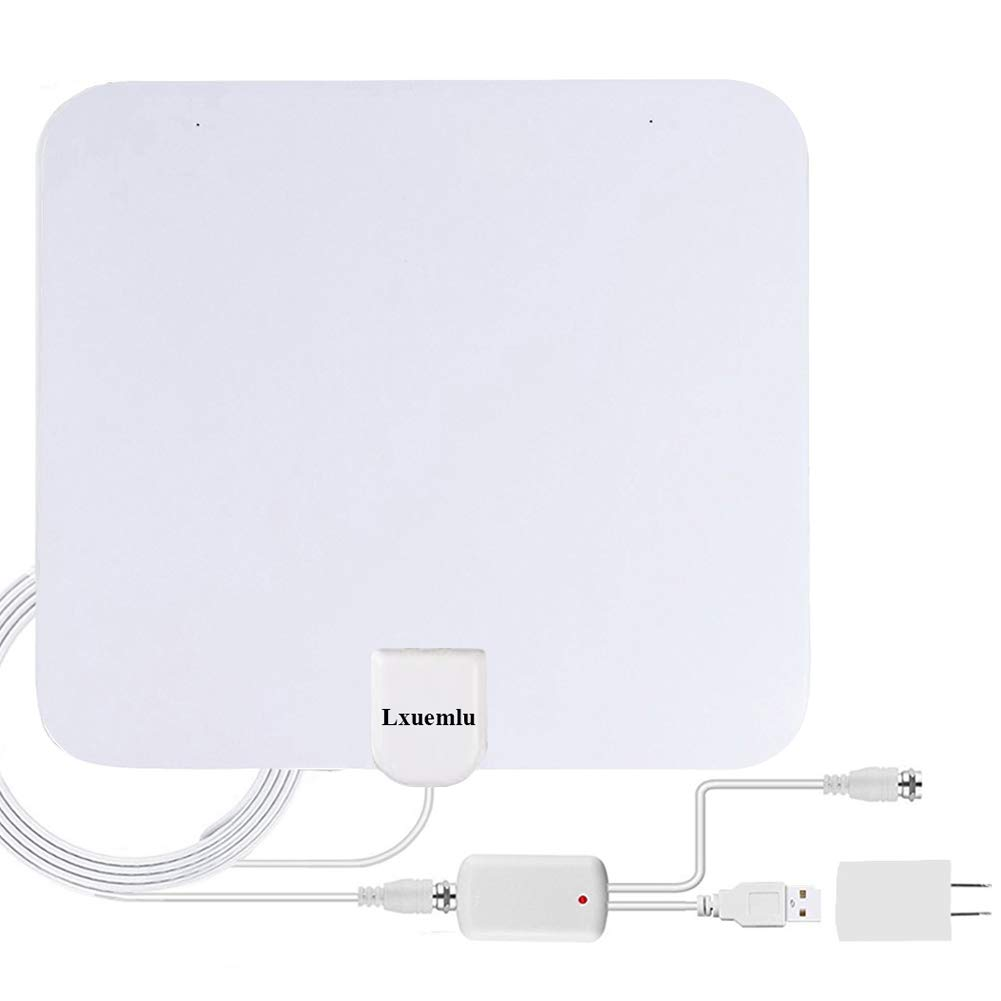 TV Antenna Indoor Digital HDTV Antenna, Lxuemlu 50 Miles Rang HD Antenna with Detachable Amplifier Signal Booster and 13FT Coaxial Cable - White