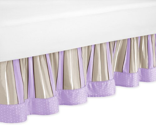 Jojo Designs Brown Bedskirt (Purple and Brown Modern Polka Dots Queen Kids Childrens Bed Skirt by Sweet Jojo Designs)
