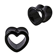 Plugs Black Heart Tunnel, Gauges Plugs 2G-14mm (2 Pieces)