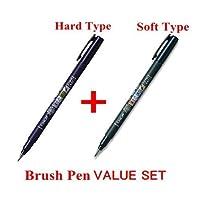 3Pacs X Tombow Fudenosuke Brush Pen /Soft Type & Hard Type (Cada 3 plumas) /Total de 6 plumas