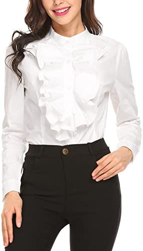2a5ed75e212ca Zeagoo Women Ruffle High Neck Blouse Long Sleeve Button Down OL Shirt Tops