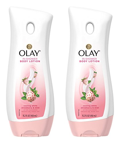 Olay In-Shower Body Lotion - Cooling White Strawberry & Mint - Net Wt. 15.2 FL OZ (450 mL) Per Bottle - Pack of 2 Bottles