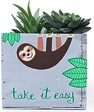 Personalized Sloth Planter Box, Decorative Bin