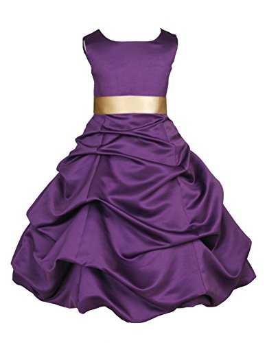 Gold Christmas Holiday Dress - Wedding Pageant Purple Flower Girl Dress Holiday Occasions Junior 806s 2