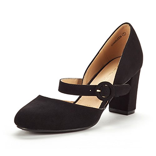 DREAM PAIRS Women's Charleen Black Suede Classic Fashion Closed Toe High Heel Dress Pumps Shoes Size 5 M US -