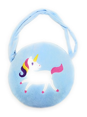 Girls Small Unicorn Circle Handbag Purse, Kids Rainbow Unicorn Party Gift Bag (Baby Blue)