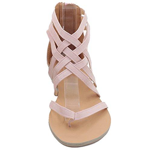 Minetom Mujeres Verano Moda Zapatos Correa Del Tobillo Romana Clip Toe Trenzado Sandalias Zapatillas de Playa Rosa
