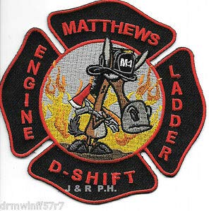 "Matthews""D"" Shift Engine - Ladder, NC (4.5"" x 4.5"" Size) fire Patch by HighQ Store"
