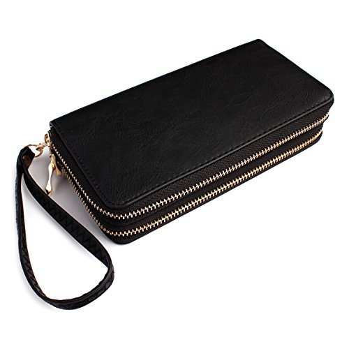 Classic Zip Around Wallet - PU Leather Double Zipper Clutch Purse with Card & Phone Slots, Removable Wristlet Strap (Black)