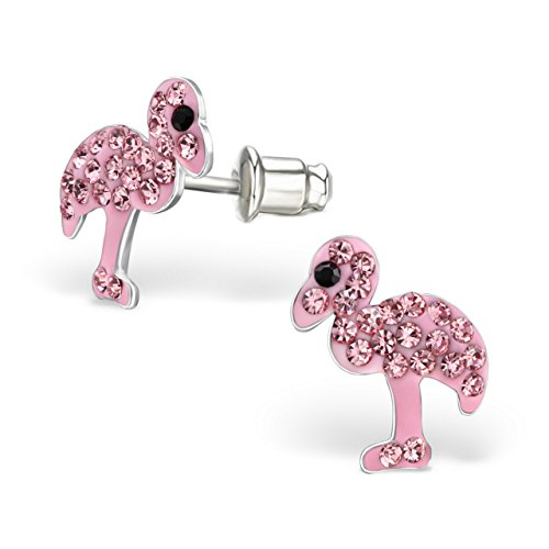 """Price comparison product image Pro Jewelry .925 Sterling Silver Children's """"Pink Crystal Flamingo"""" Stud Earrings with Bullet Clutch Earring Backs"""