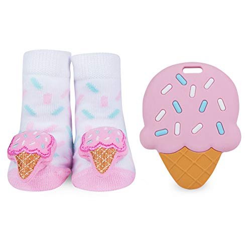 (WADDLE Girls Pink Ice Cream Cone Rattle Socks and Silli Chews Baby Teether Sweet Tooth Silicone Teething Toy Infant Pain Relief Soother Newborn Gift Set)