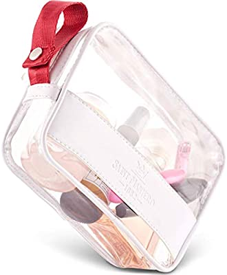 Saint Maniero Unisex Clear Carry-on Travel Bag Flat Base 7.9 x 1.6 x 4.9 inches 1 L Black with Gift Box