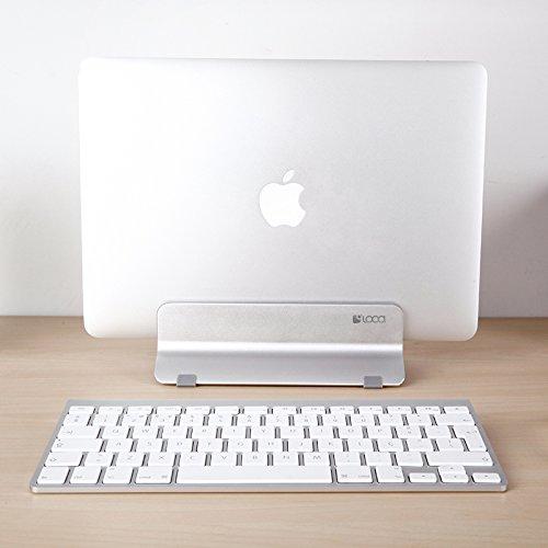 Vertical Laptop Stand, LOCA Aluminium Desktop Stand for Apple MacBook, notebooks (Silver) … Photo #6