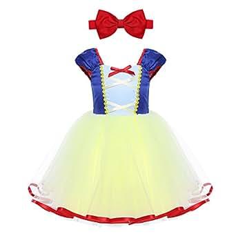 IEFIEL Vestido de Princesa para Bebé Niña (1-5 Años) Disfraz de Infantil Vestido de Fiesta Carnaval Actuación Ceremonia Cosplay Azul y Amarillo 12 Meses