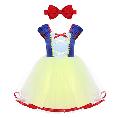 dPois Infant Baby Girls' Snow Princess Mesh Tutu Dress Halloween Fairy Tale Cosplay Party Costumes with Headband Blue&Yellow 4T