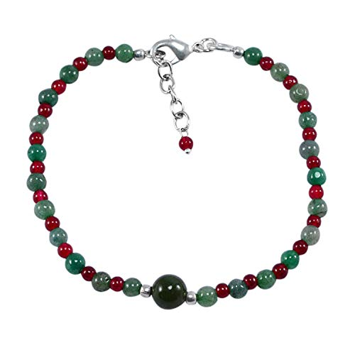 Silvesto India Green Jade & Red Quartz Beaded Jewelry 925 Silver Plated Men's Handmade Jewelry Manufacturer Simple Chain…