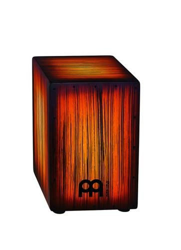 Meinl Percussion Cajon Box Drum with Internal Metal Strings for Adjustable Snare Effect-NOT Made in China-Amber Tiger Stripe Full Size, 2-Year Warranty, (HCAJ2AMTS)