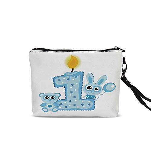 1st Birthday Decorations Makeup Brush Bag,Boys Party Theme with a Cake Candle Rabbit and Bear For Women Girl,9