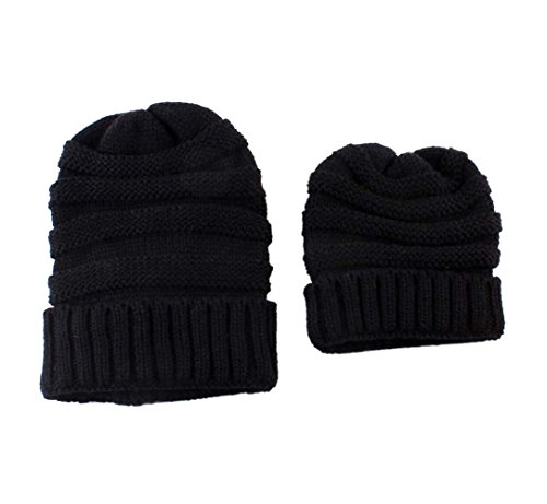 (Lovefairy Lovely Mom and Baby Matching Outfit Knitting Caps for Hat Winter Warm Cap (Black))