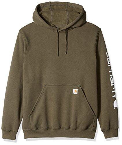 Carhartt Men's Midweight Signature Sleeve Logo Hooded Sweatshirt K288, Moss, ()