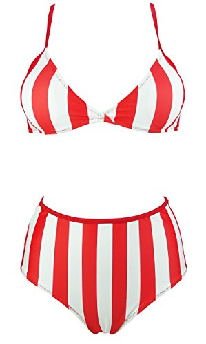 COCOSHIP Red & White Vertical Striped Women's Vintage High Waist Two Piece Bikini Set Push up Top Clips Back Bathing Swimsuit 6