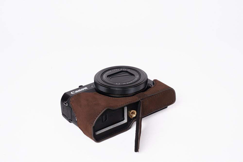 キャノン G7XII用本革カメラケース(電池,SDカード交換可) ダークブラウン B07SLLKG4R カメラケース&ストラップTP1881 FreeSize