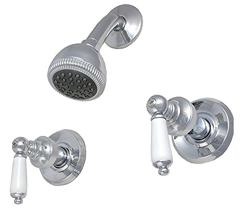 "8"" Two-handle Shower Only Faucets, Chrome Finish, Washerless, Porcelain Lever Handle - Plumb USA 34589"