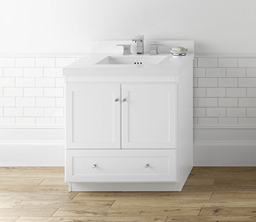 RONBOW Shaker 30 Inch Bathroom Vanity Base Cabinet with Soft Close Wood Door, Cabinet Drawer and Adjustable Shelf in White 080830-3-W01 ()