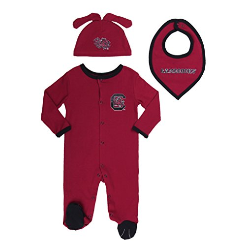 FAST ASLEEP South Carolina Gamecocks Baby Boy (3pc) Footie, Bib and Hat Set (0-3 M)