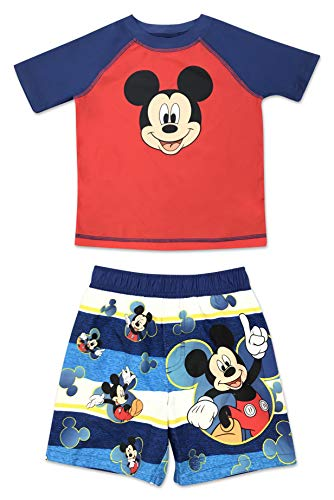 Swim Trunk Set - Toddler Boy Mickey Mouse 2 Piece Rash Guard and Swim Trunk Set 2T