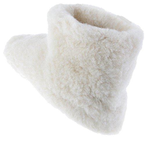 SAMs Lammfell Hausschuhe Pantoffel Puschen Schlappen Slipper Kuscheltier Plüsch Damen Herren 37-46, TH-Lammfell, Farbe Beige A, Größe 45