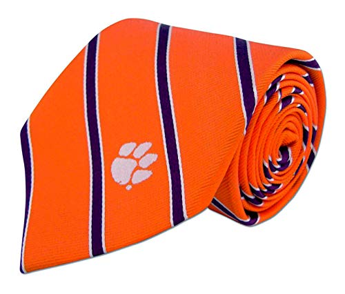 ZEP-PRO Mens NCAA Silk Striped Neck Tie (Clemson, Thin Stripe) ()