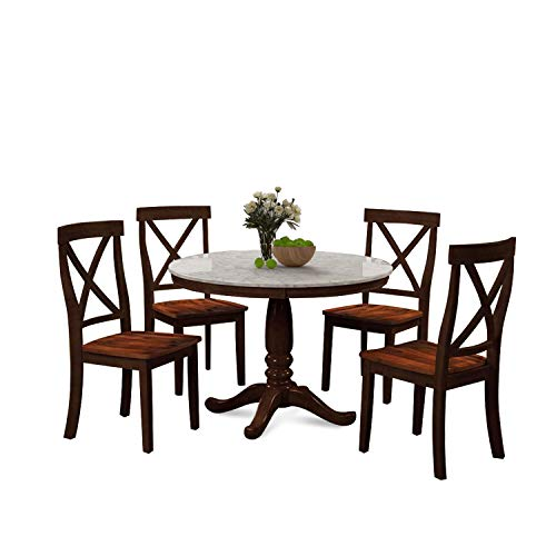 Harper&Bright Designs 5 Piece Dining Set Rubber Wood/ 1 Table with Marble Top and 4 Chair/Kitchen Room Dining Room Furniture (Espresso) (Marble Top Espresso)