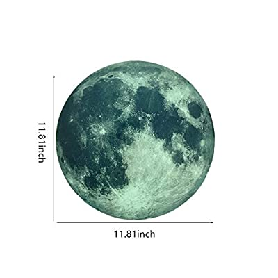 Mendom Glow in The Dark Moon Wall Decals 30cm Luminous Art Sticker at Night, Removable Adhesive Wall Decal for Kids Boy and Girl Bedroom: Kitchen & Dining