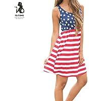 Hot Sale ! New Fashoin Womens Print American Flag Dress, Ninasill Beautiful Sleeveless Mini Dress (L, Multicolor)