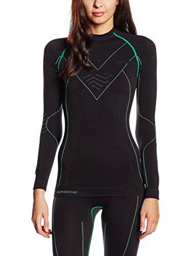 Spaio Supreme Camiseta de mujer de manga larga, negro/verde Negro / Verde