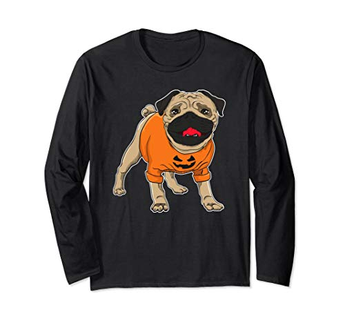 Funny Halloween Pug in Costume Long Sleeve -