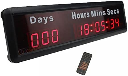 Godrelish 1-inch 9Digits LED Event Timer Countdown/up Clock with Days Hours  Mins Secs Max Up to 1000 Days Indoor LED Countdown Clock Red Color