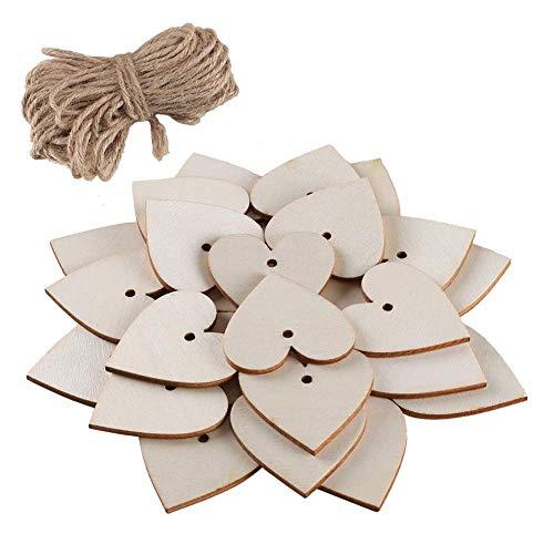 FJSM 100 Pieces Wooden Heart Embellishments Heart Shaped
