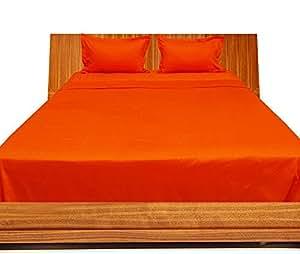 Brightlinen Orange Double (135 X 190 Cm) Sheet Set Solid(pocket Size: 22 Cm) 4pcs