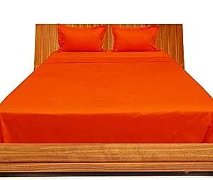 Brightlinen Orange Double (135 X 190 Cm) Sheet Set Solid(pocket Size: 34 Cm) 4pcs
