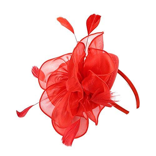 Song Qing Fascinator Women Ladies Silk Yarn Feather Hair Hoop Cocktail Party Wedding Sinamay Headband (Red) ()