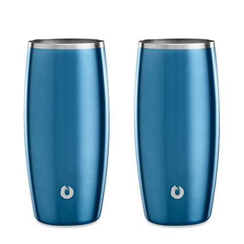 SNOWFOX Insulated Stainless Steel Stemless 16.9 oz. Beer Glass, Set of 2, Soft Blue