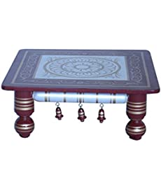 "Hastakala Bazaar Teak Wood Chowki for Pooja (16"" X 16"" X 7"" Cherry, White and Golden)"