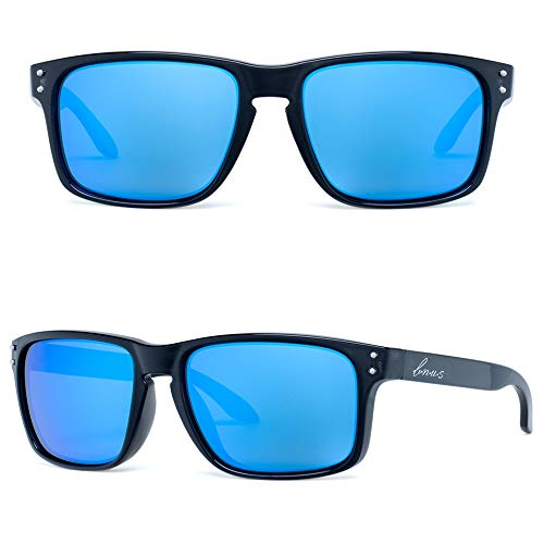 Big Lens Sunglasses - Bnus italy made corning real glass mirrored lens classic sunglasses for women boys girls shades (Black/Blue Flash Polarized 53mm(S), Never Scratch Mirror Coating)