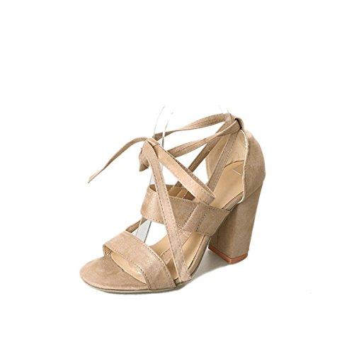 Plataforma Tacón Zapatos Estiletes Pulgadas Zapatos 2 Beige Correa 3 Mujer Verano para Tacon Alto Zapatos de con Sandalias para Mujer 5 E5PXWO4q