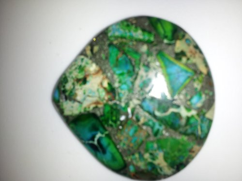 LOVELY Beautiful Sea Sediment Jasper & Pyrite Teardrop NECKLACE PENDANT [ with FREE NECKLACE ] (Jasper Teardrop Pendant)