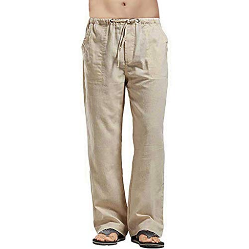 Men's Linen Thin Sweatpants Pockets Open Bottom Workout Breathable Loose Elastic Straight Leg Pant Khaki (Lee Side Elastic Twill Pants Plus Size)